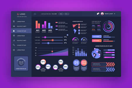 Illustration pour Dashboard UI. Admin panel vector design template with infographic elements, HUD diagram, info graphics. Website dashboard for UI and UX design web page. Dark style. Vector illustration. - image libre de droit