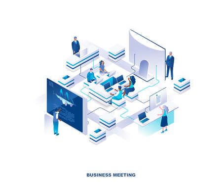 Illustration pour Business meeting isometric landing page. Concept with group of clerks or employees sitting around table at office and standing at giant computer screens or control panels. Modern vector illustration. - image libre de droit