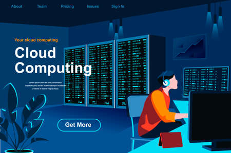 Cloud computing isometric landing page. IT specialist working in server room website template. Hosting platform technology, data structuring and classification perspective flat vector illustration.