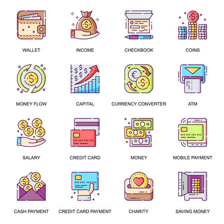 Illustration for Money management flat icons set. Credit card payment, currency converter, online wallet, money flow, checkbook, salary and charity line pictograms for mobile app. Capital saving vector icon pack. - Royalty Free Image