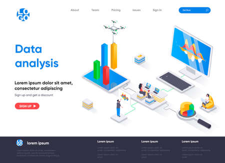 Data analysis isometric landing page. Financial data analysis, management and optimization, database structuring isometry web page. Website flat template, vector illustration with people characters.