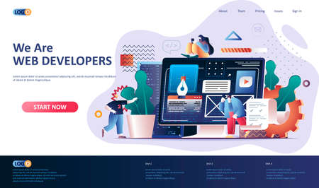 Illustration for Web development flat landing page template. Website construct, prototyping and programming web banner. UI UX designer workplace 3d composition, development company. Web page vector illustration. - Royalty Free Image