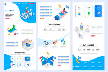 Illustration pour Call center isometric landing page. Online consultation, customer support corporate website design template. Web banner template with header, middle content and footer. Isometry vector illustration. - image libre de droit