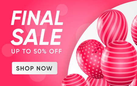 Illustration pour 3d poster of Final Sale up to 50 percent off discount prices in realistic design. Shop now concept. Flyer template for shop promotion website background. Vector illustration of advertising web banner - image libre de droit
