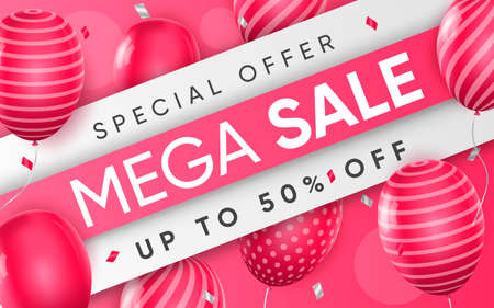 Illustration pour 3d poster of Mega Sale up to 50 percent off discount price with pink balloons in realistic design. Special offer for shop website background. Save money. Vector illustration of advertising web banner - image libre de droit