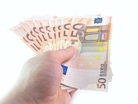 The isolated denominations in 50 euros in a hand