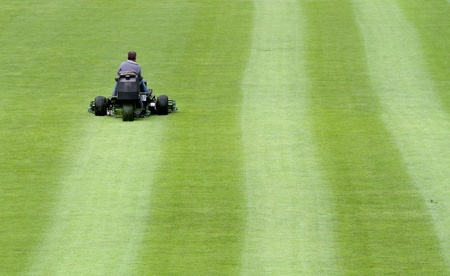 mowing soccer stadium