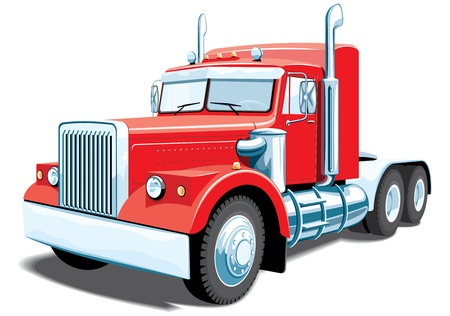 Illustration for isolated red semi truck without gradients - Royalty Free Image