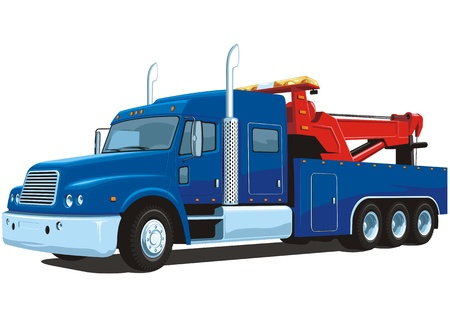 Illustration for Vector isolated heavy wrecker, tow truck - Royalty Free Image