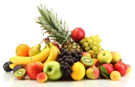 Photo for Composition of various exotic fruits isolated on white background - Royalty Free Image