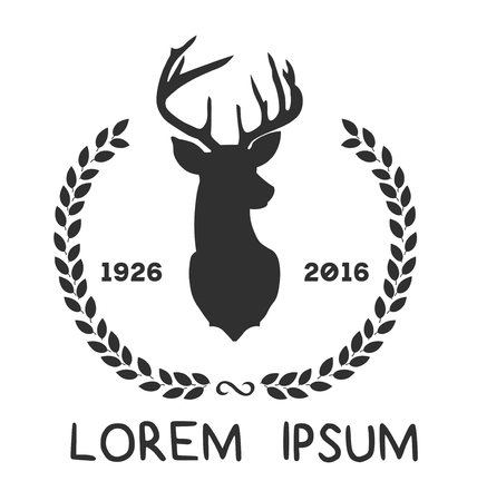 Illustration for Hipster icon with silhouette of deer and twigs around - Royalty Free Image