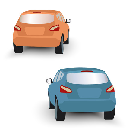 Back of hatchback cars orange and blue in vector on white background