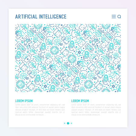 Machine Learning And Artificial Intelligence Concept With Thin Line