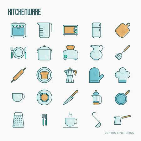 Kitchenware and tableware thin line icons set. Vector