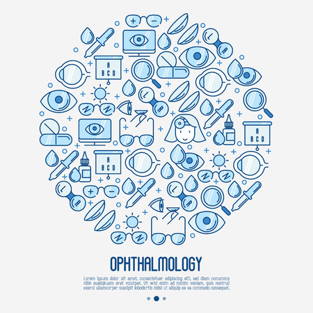 Illustration pour Ophthalmology concept in circle with vision care thin line icons. Vector illustration for banner, web page, print media. - image libre de droit