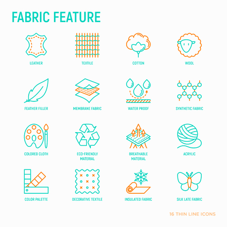 Illustration pour Fabric feature thin line icons set: leather, textile, cotton, wool, waterproof, acrylic, silk, eco-friendly material, breathable material. Modern vector illustration. - image libre de droit