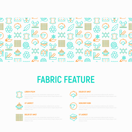 Illustration pour Fabric feature concept with thin line icons: leather, textile, cotton, wool, waterproof, acrylic, silk, eco-friendly material, breathable material. Modern vector illustration, web page template. - image libre de droit