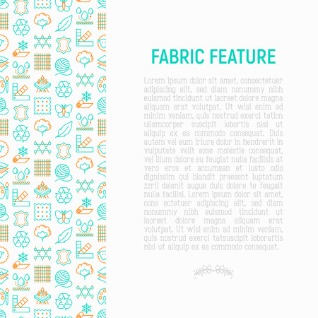 Illustration pour Fabric feature concept with thin line icons: leather, textile, cotton, wool, waterproof, acrylic, silk, eco-friendly material, breathable material. Modern vector illustration for banner, print media. - image libre de droit