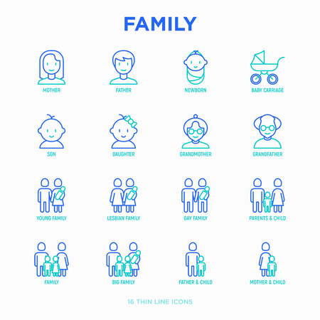 Ilustración de Family thin line icons set: mother, father, newborn, son, daughter, lesbian, gay, single mother and child, grandmother, grandfather. Modern vector illustration. - Imagen libre de derechos