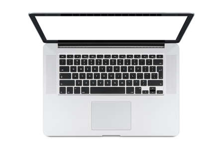 Top view of modern retina laptop with English keyboard isolated on white background. High quality.