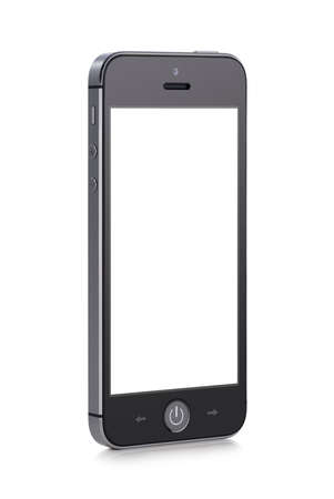 Front view of a rotated at a slight angle black modern mobile smart phone with blank screen isolated on white background  High quality