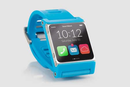 Photo pour Blue smart watch close up isolated on white background - image libre de droit