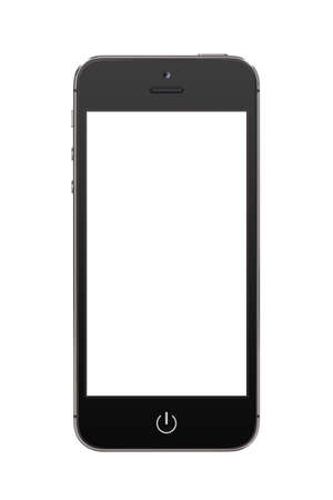Directly front view of a modern black mobile smart phone with blank screen isolated on white background  High quality