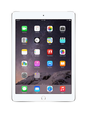 Varna, Bulgaria - February 02, 2014: Front view of Apple Silver iPad Air 2 with touch ID displaying iOS 8 homescreen, designed by Apple Inc. Isolated on white background. High quality.