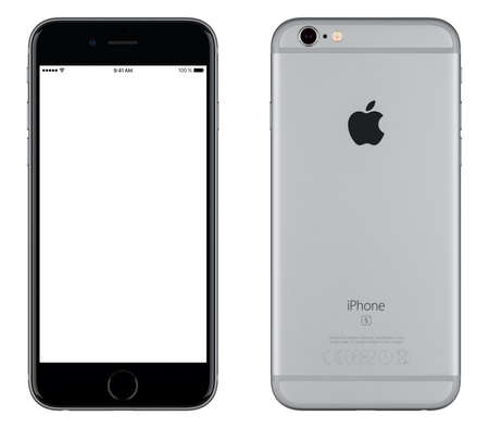 Foto de Varna, Bulgaria - October 24, 2015: Front view of Space Gray Apple iPhone 6S mockup with white screen and back side with Apple Inc logo. Isolated on white. - Imagen libre de derechos