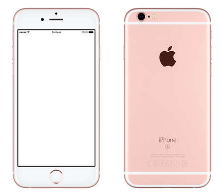 Varna, Bulgaria - October 24, 2015: Front view of Rose Gold Apple iPhone 6S mockup with white screen and back side with Apple Inc logo. Isolated on white.のeditorial素材