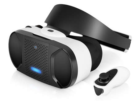 Photo pour VR virtual reality headset half turned with game controller isolated on white background. VR is the future of gaming that gives players a new awesome experience. - image libre de droit