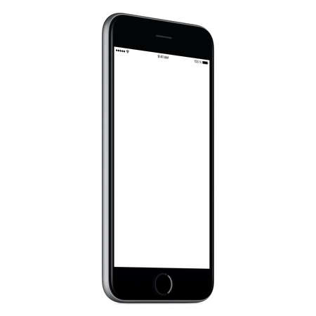 Photo for Black mobile smartphone mock up slightly counterclockwise rotated with blank screen isolated on white background. You can use this smartp hone mockup for your web-project or UI design presentation. - Royalty Free Image