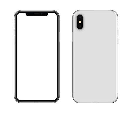 Photo pour New modern white smartphone mockup front and back sides isolated on white background - image libre de droit