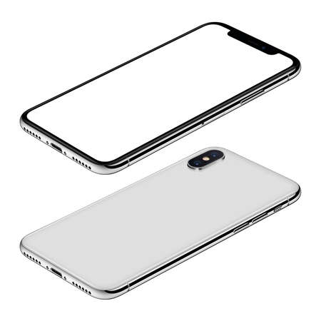 Foto de White smartphone mockup front and back sides isometric view CW rotated lies on surface - Imagen libre de derechos