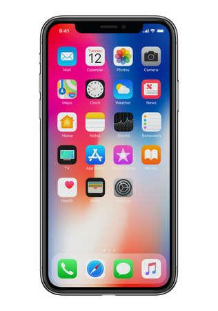 Photo pour New Apple iPhone X front view on white background - image libre de droit