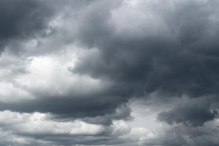 Storm sky, rain. Thunderclouds over horizon, dark, gray.