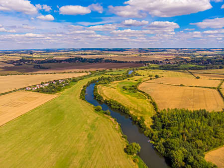 Photo for Aerial view of the congruence of the river Thames and river Thame, UK - Royalty Free Image
