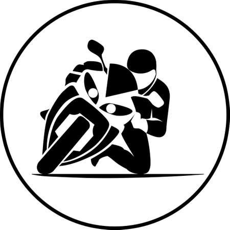Illustration pour illustration of motorcycle racer on sportbike - image libre de droit