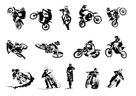 Illustration for Extreme motorbike big vector set 14etc, motocross dirtbike enduro offroad motorcycles - Royalty Free Image