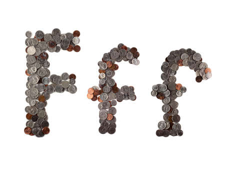 Money alphabet. American coins. Letter F.