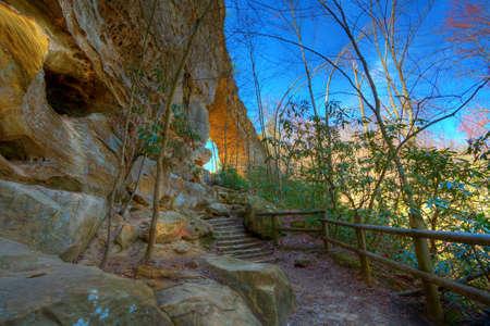Sandstone arch in Natural Bridge State Park in Kentucky