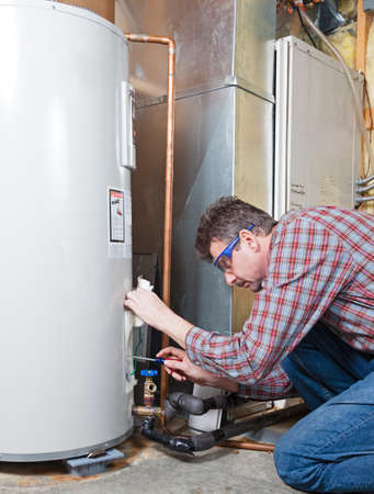 Water heater maintenance by the technician