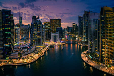 Photo for Scenic view of Dubai Marina, UAE after sunset - Royalty Free Image