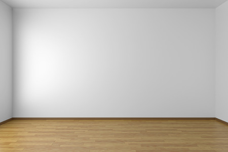 Empty white room with white walls and wooden parquet floor