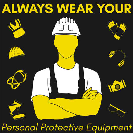 Illustration for Personal Protective Equipment and Wear set. Will be use for Occupational Safety and Health poster, sign and postcard. - Royalty Free Image