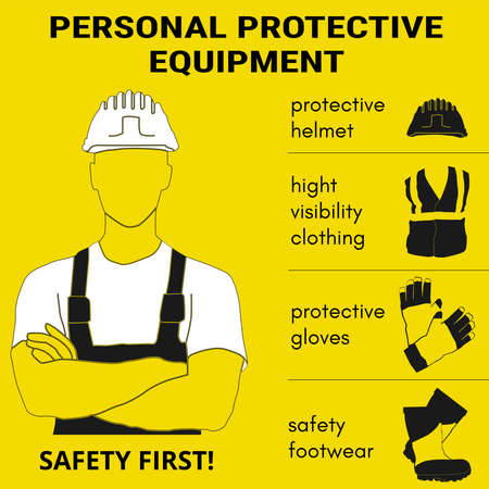 Ilustración de Personal Protective Equipment and Wear set. Will be use for Occupational Safety and Health poster, sign and postcard. - Imagen libre de derechos