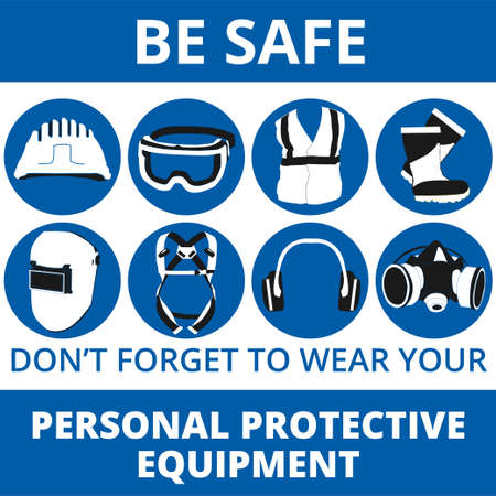 Illustration pour Personal Protective Equipment and Wear set. Will be use for Occupational Safety and Health poster, sign and postcard - image libre de droit