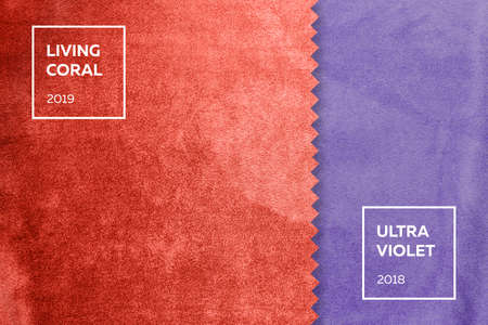 Foto per fabric with a nap in colors of the year 2018, ultra violet, living coral 2019 - Immagine Royalty Free