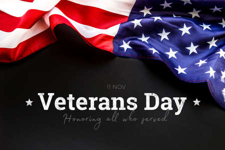 Foto per American flag on a black background. Veterans Day. honoring all who served. 11 november. - Immagine Royalty Free