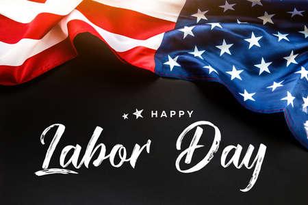 Foto de Happy Labor day banner, american patriotic background with USA flag - Imagen libre de derechos